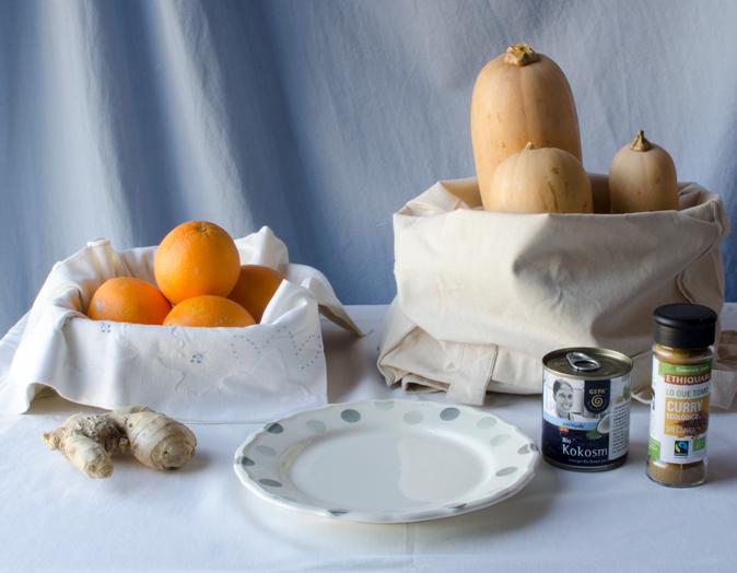 Sopa de calabaza, naranja, curry y jengibre