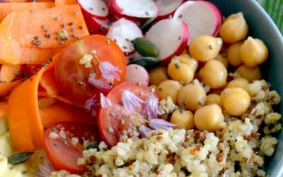 Ensalada de quinoa con garbanzos y tomates